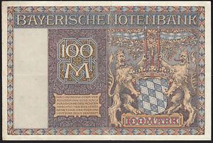 1922 100 Mark German States Bavaria Munich Rare Vintage Emergency Banknote XF