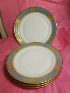 "Set 4 Limoges Blue & Gold 11"" Dinner Plates French France Palais Royal Sinclair"