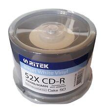 50 x vinile Ritek Traxdata CD vuoto R BLACK DYE bianco stampabile a getto d'inchiostro