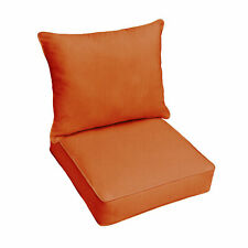 Sunbrella Rust Orange Indoor Outdoor Deep Seat Pillow and Chair Cushion Set