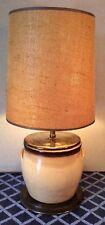 "Antique Salt glazed Stoneware 2 Gallon Crock Table Lamp & Vintage Shade 28.75"""