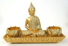 Candle Tealight Holder Gold Sitting Buddha Sitting on a Gold Glitter Tray statue