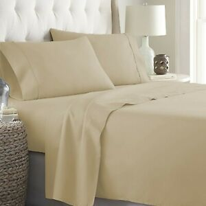 Top Item Taupe Solid Full Size 4 PCs Sheet Set 15 Inch 1000TC Egyptian Cotton