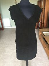 Black Majestic Leather Suede Tunic Dress Top New
