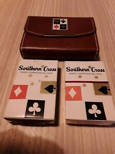 Vintage VELMONT genuine leather leather playing card case with 2 decks southern