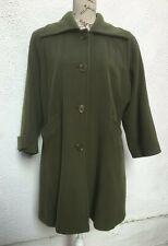 Ladies Green Coat UK 18 20 Wool Cashmere Henry White Irish Designer Vintage Knee