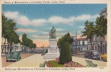 Postcard Drive and Monument to Christopher Columbus Lima Peru