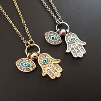 Women Girl Evil Eye Charm Hamsa Fatima Hand Retro Silver Gold Necklace Jewelry