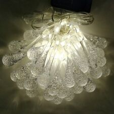 Solar Powered Water Drop String Lights - 30 LED Warm White, 8 Modes