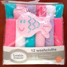 Luvable Friends Baby Girls Terry Washcloths 12 Pack & Fish Multi-Color 9x9 Blend