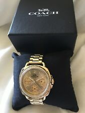 COACH TATUM Gold Multi-Function Stainless Steel Watch 14502570 $295 NEW