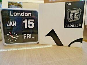 "Habitat ""flap"" analogue quartz auto calendar wall clock, still boxed, working ."