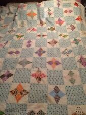 """Antique 4-Point Star Quilt Multicolor Blue White 68""""x70"""" Handstiched Feedsack"""