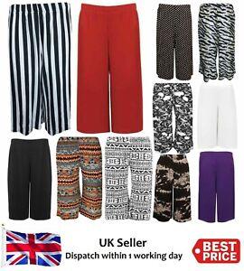 Ladies Women's Plain Printed Wide Leg Culottes 3/4 Palazzo Trouser Shorts 8-26