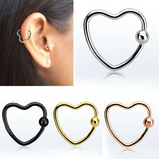 1-4PC 16G Heart Ring Hoop Steel Bendable Helix Cartilage Tragus Ear Piercing US