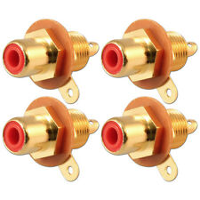 RCA Phono Chassis Panel Mount Gold Plated Female Socket Connector Red x 4