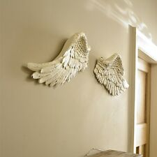 Large cream resin wall hanging art angel fairy feather wings shabby ornate chic