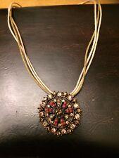 Vintage Lia Sophia Brass Tone Multi Cord Amber Crystal Round Pendant Necklace