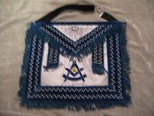 Past Master Masonic Apron w/ Square Blue Fringe Stretch Belt All Seeing Eye NEW!