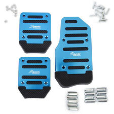 Blue Aluminium Non Slip Sport Pedal Brake Pad Covers Manual Car 3 PCS