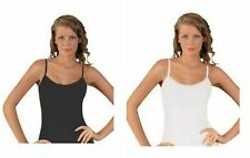 Ladies 100% Cotton Strappy Summer Vest Top With Daisy Trim Black or White