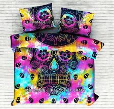 Indian Tie & Dye Skull Cotton Duvet Quilt Doona Cover Queen Blanket Set Pillow