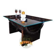 OAK BARREL COFFEE TABLE   Tempered Glass Top   Burn Oak Finish   Whiskey Barrel