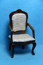 Dollhouse Miniature Dining Room Arm Chair with Cream Fabric Seating ~ T6313