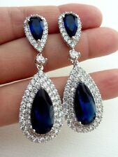 15Ct Pear Blue Sapphire Synt. Diamond Chandelier Earrings White Gold Fnsh Silver