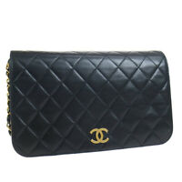 CHANEL Full Flap CC Logos Quilted Chain Shoulder Bag 4524395 Purse Black 38900