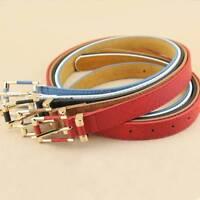 New Women's Crocodile Buckle Belts Slim Thin Waist Strap Leather Belt Waistband