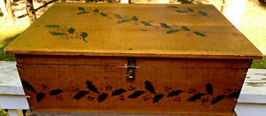 Primitive Antique Country Folk Art Paint Decorated Chest Trunk ~CHRISTMAS HOLLY~