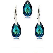 SWAROVSKI ELEMENTS & 925 Orecchini D'argento Ciondolo Collana Set Bermuda Blu