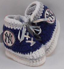 Custom Design Handmade Crochet New York Yankees High Tops Baby Booties