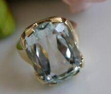 Antiker Ring 585° Gold echter Aquamarin ca.10 ct Gr. 50 Art Dèco um 1930 R535F