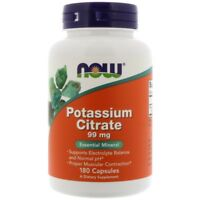 POTASSIUM CITRATE 180 Caps 99mg NOW FOODS Muscular & Electrolyte Balance Support