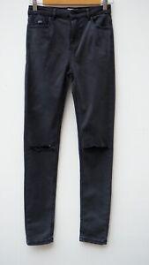 Fantastic SUPERDRY 'Sophia' Ladies Grey Stretch Skinny Ripped Jeans W26 L30 UK 8
