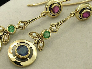 s E132 Genuine 9K 9ct Solid Gold NATURAL Sapphire Ruby Emerald EARRINGS Colorful