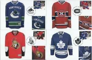 CANADA Sc #2670-6 7 DIFF CANADIAN HOCKEY SWEATER STAMPS on 7 DIFF MAXIMUM CARDS