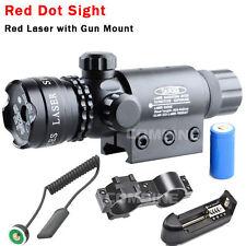 Tactical Rechargeable Red dot Laser sight rifle gun scope w/ Rail & Barrel Mount