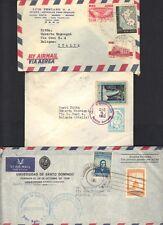 DOMINICAN REPUBLIC 1960's THREE COVERS SANTA DOMINGO TO BOLOGNA ITALY