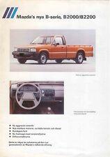 Mazda B-Series Pickup B2000 B2200 1985 Original Swedish Specification Brochure