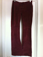 DKNY DARK RED WINE SUEDE LACE UP PANTS BOHO HIPPIE ROCK 'n ROLL NWT $168 Sz 0
