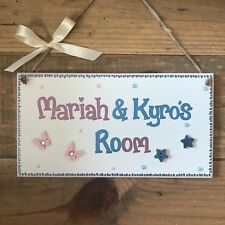 PERSONALISED CHILDRENS SHARED ROOM GIRLS/ BOYS TWINS NAME DOOR WALL SIGN PLAQUE.