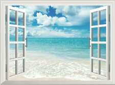 Blue Sky White Beach 3D Fake Window View Wall Stickers Home Office Decor Mural