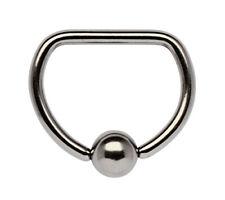Piercing Schmuck Brust D-Ring in 1,6mm mit geradem Steg und Klemmkugel aus Stahl