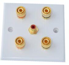 Slimline White 2.1 Speaker Wall Plate Gold 4 Binding Posts + 1 RCA