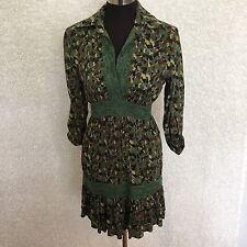 Hazel Womens S Tunic Dress Green Multi Color Camo Mini 3/4 Tab Sleeve Lace Trim
