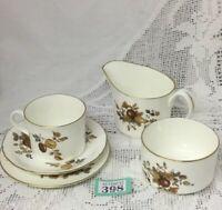 Royal Worcester Trio, Milk Jug & Sugar Bowl White Gilded Autumnal Design