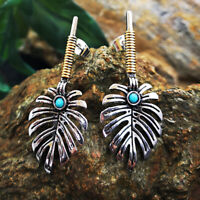 Vintage Bohemian Dangle Ear Stud 925 Silver Turquoise Hook Earrings Jewelry Gift